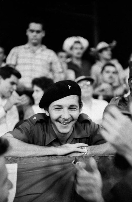 CUBA. 1959. Raul CASTRO at a baseball game between the Barbudos and the National Police Department.
