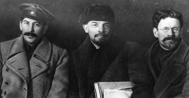 Russian revolutionaries and leaders Joseph Stalin (1879 - 1953), Vladimir Ilyich Lenin (1870 - 1924), and Mikhail Ivanovich Kalinin (1875 - 1946), at the Congress of the Russian Communist Party. (Photo by Hulton Archive/Getty Images)