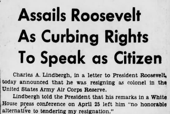 lind1 Old Print Article: Charles A. Lindbergh Angrily Resigns (1941)