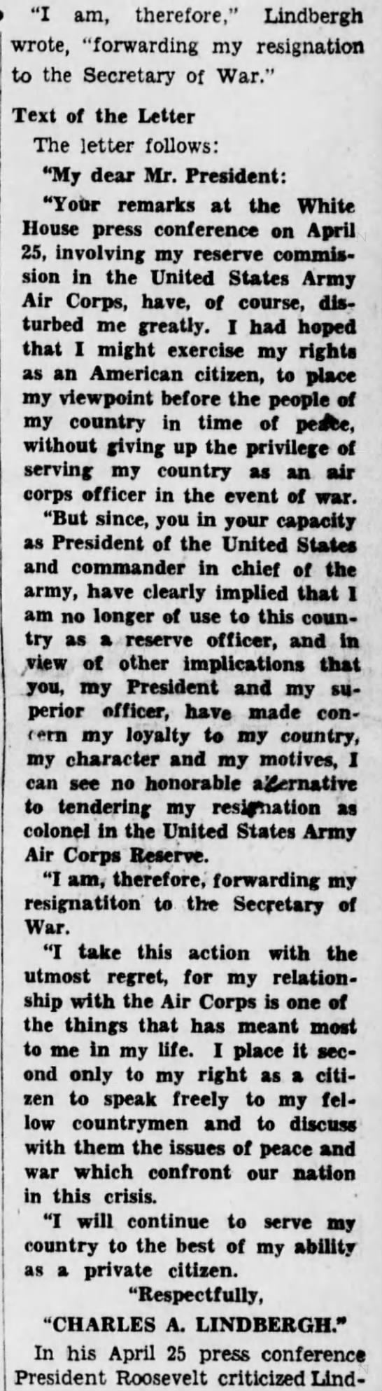 lind2222222222 Old Print Article: Charles A. Lindbergh Angrily Resigns (1941)