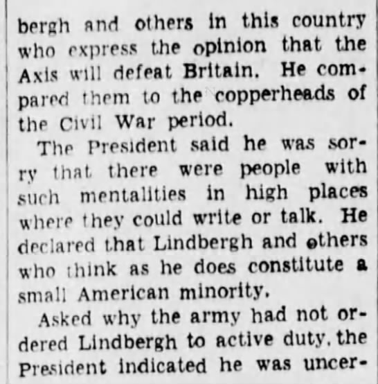 lind3 Old Print Article: Charles A. Lindbergh Angrily Resigns (1941)