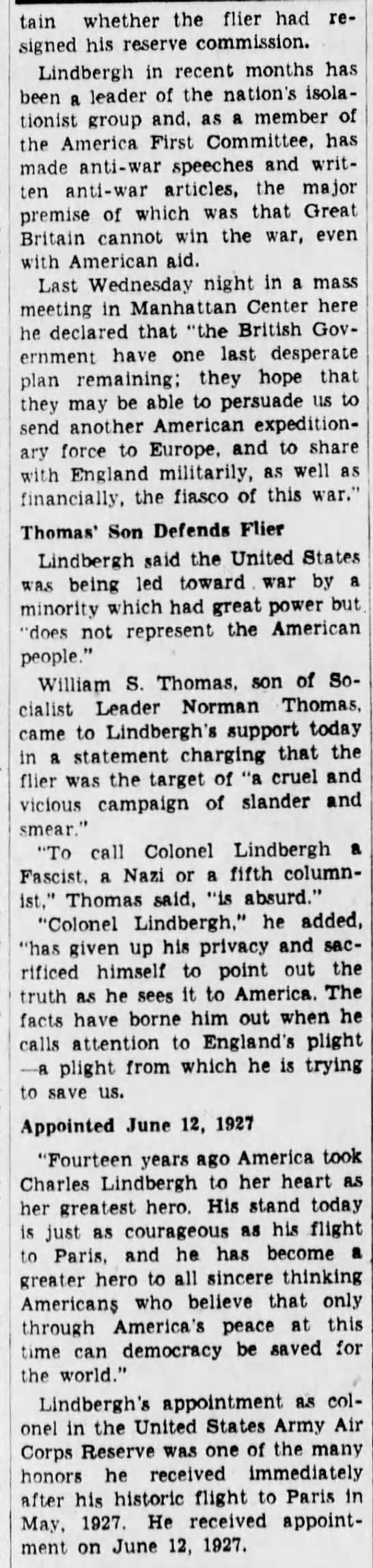 lind4 Old Print Article: Charles A. Lindbergh Angrily Resigns (1941)