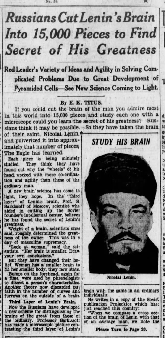 """lenin1 Old Print Article: """"Russians Cut Lenin's Brain Into 15,000 Pieces To Find Secret Of His Greatness,"""" Brooklyn Daily Eagle (1929)"""