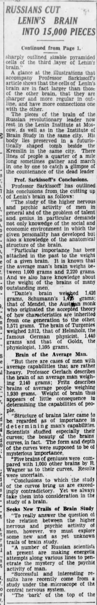 """lenin22 e1413276552344 Old Print Article: """"Russians Cut Lenin's Brain Into 15,000 Pieces To Find Secret Of His Greatness,"""" Brooklyn Daily Eagle (1929)"""
