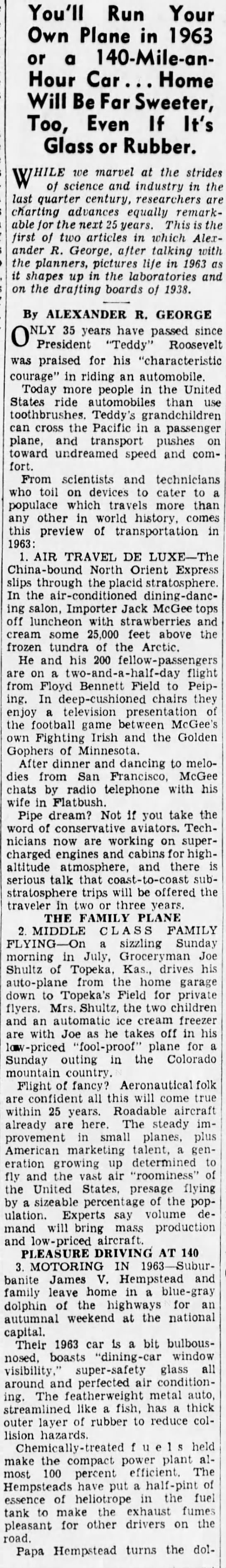 3863b Old Print Article: What Life Will Be Like In 1963, Brooklyn Daily Eagle (1938)