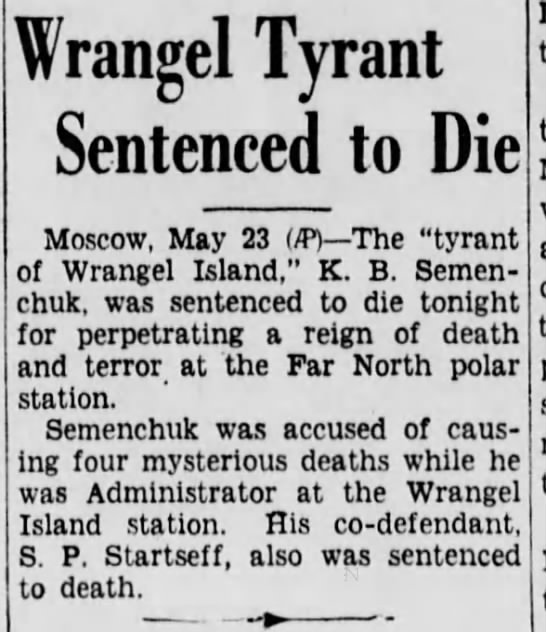 schuk3 Old Print Articles: The Tyrant Of Wrangel Island, Brooklyn Daily Eagle (1936)