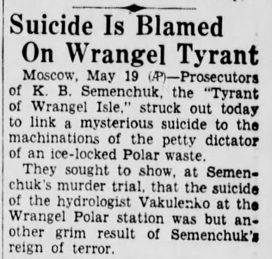 semenchuk111 Old Print Articles: The Tyrant Of Wrangel Island, Brooklyn Daily Eagle (1936)