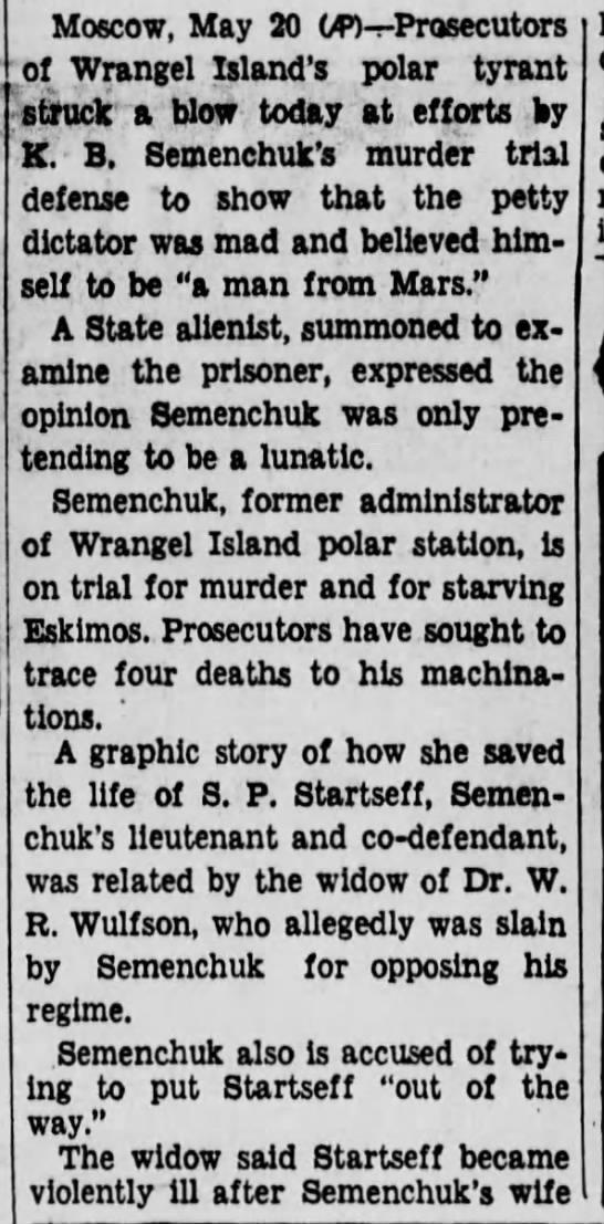 semenchuk9 Old Print Articles: The Tyrant Of Wrangel Island, Brooklyn Daily Eagle (1936)