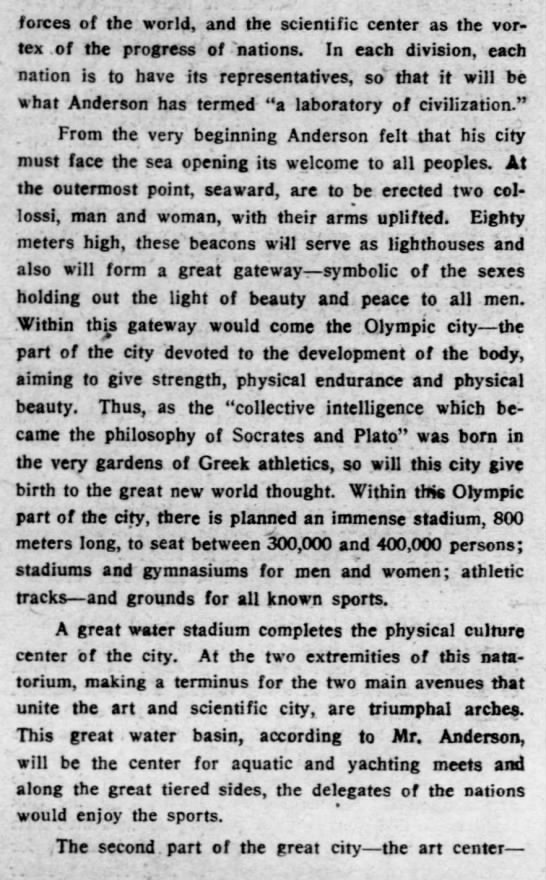 and3 Old Print Article: American Sculptor To Build Perfect City, Brooklyn Daily Eagle (1927)