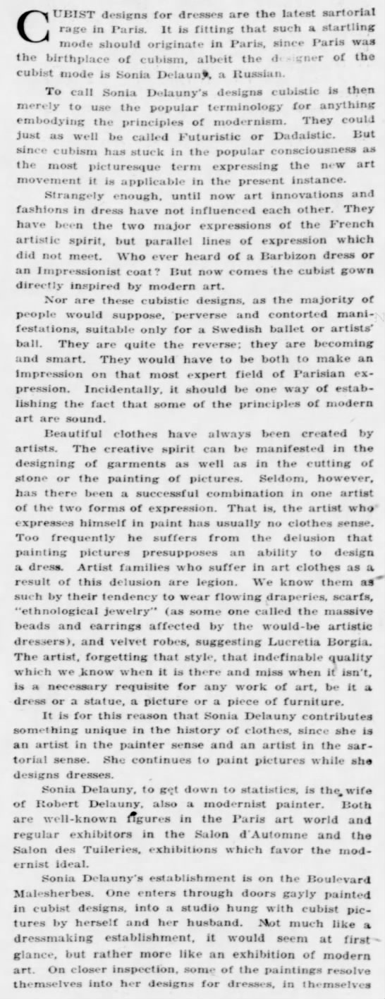 "sd1 Old Print Article: Sonia Delaunay's ""Cubist"" Clothes, Brooklyn Daily Eagle (1924)"