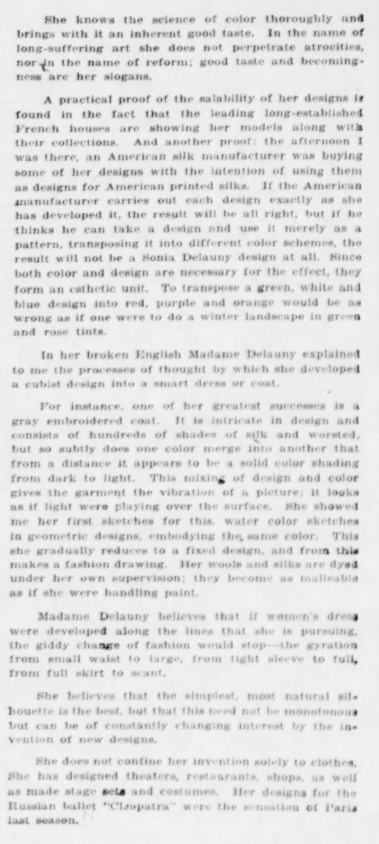 "sd4 Old Print Article: Sonia Delaunay's ""Cubist"" Clothes, Brooklyn Daily Eagle (1924)"