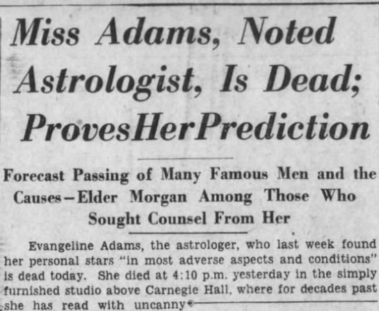adams1 Old Print Article: Famed Astrologer Evangeline Adams Succumbs, Brooklyn Daily Eagle (1932)