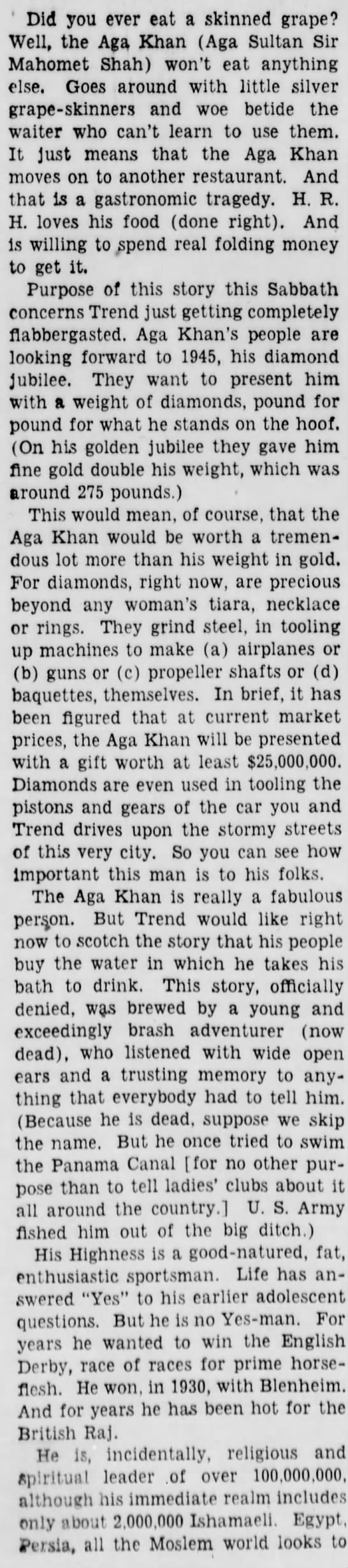 aga1a Old Print Article: Aga Khan Worth His Weight In Gold, Brooklyn Daily Eagle (1941)