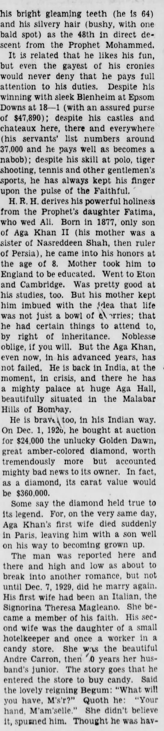 aga2a Old Print Article: Aga Khan Worth His Weight In Gold, Brooklyn Daily Eagle (1941)