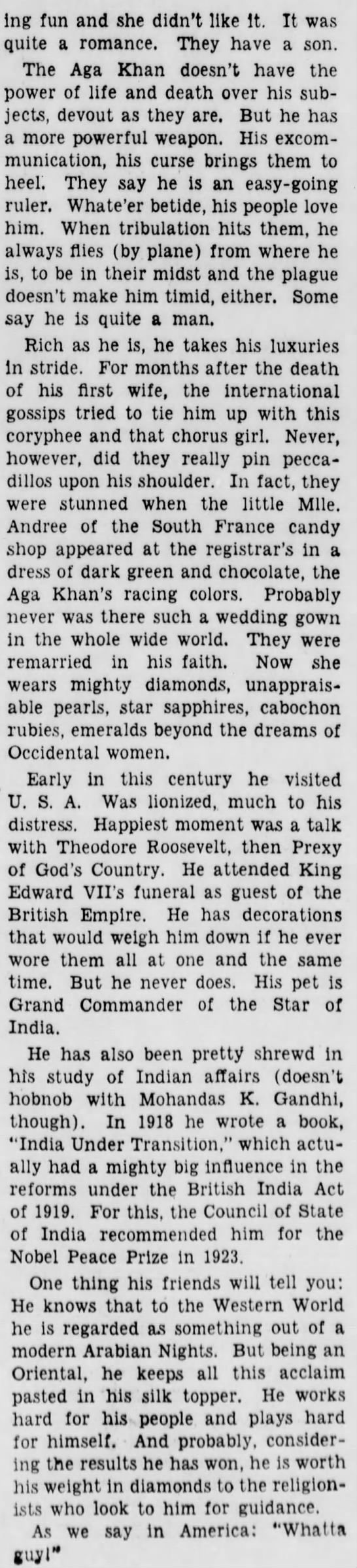 aga3a Old Print Article: Aga Khan Worth His Weight In Gold, Brooklyn Daily Eagle (1941)