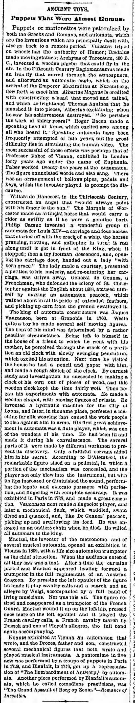 automata1800s Old Print Article: The Ancient Toys Of Automata, Brooklyn Daily Eagle (1887)