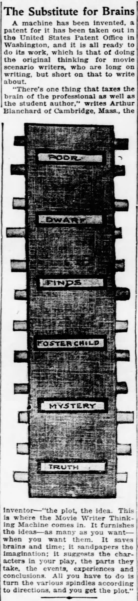 randomstorymachine6 Old Print Article: Blanchard's Story Generator Machine, Brooklyn Daily Eagle (1921)