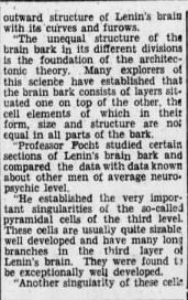 """lenin31 e1413277415335 2 e1466055734118 Old Print Article: """"Russians Cut Lenin's Brain Into 15,000 Pieces To Find Secret Of His Greatness,"""" Brooklyn Daily Eagle (1929)"""