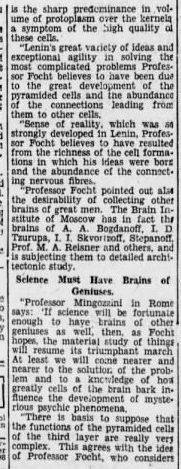 """lenin31 e1413277415335 3 e1466055949620 Old Print Article: """"Russians Cut Lenin's Brain Into 15,000 Pieces To Find Secret Of His Greatness,"""" Brooklyn Daily Eagle (1929)"""