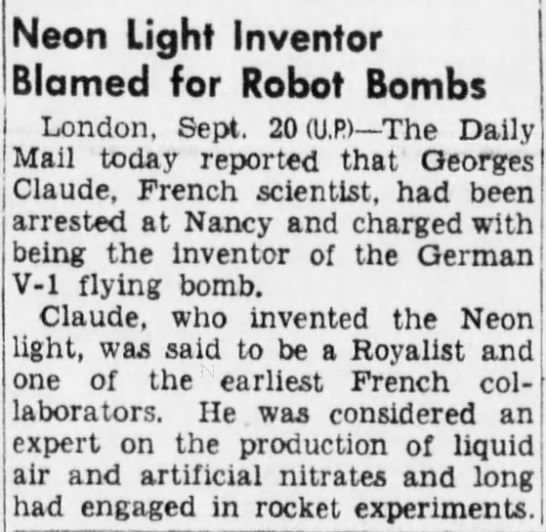 """456 Old Print Article: Georges Claude Was The """"French Edison,"""" Brooklyn Daily Eagle (1931/44)"""