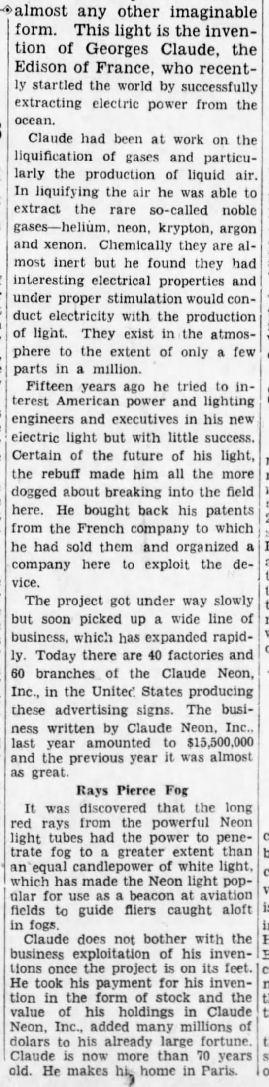 """lumineer1 Old Print Article: Georges Claude Was The """"French Edison,"""" Brooklyn Daily Eagle (1931/44)"""