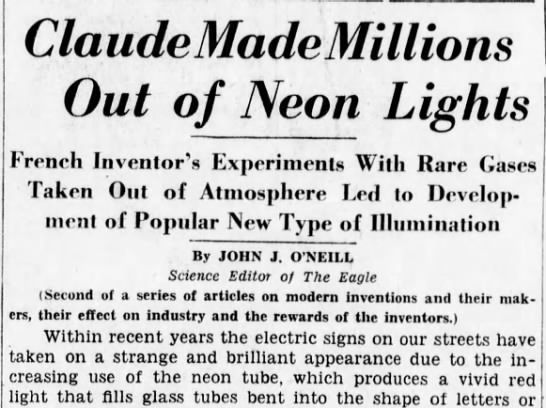 """lumineer3 Old Print Article: Georges Claude Was The """"French Edison,"""" Brooklyn Daily Eagle (1931/44)"""