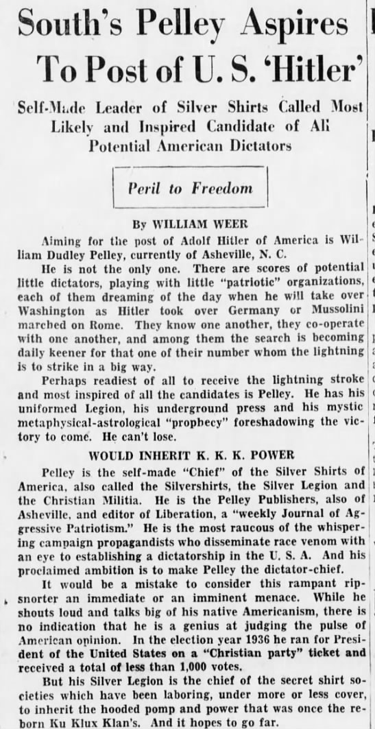 pelley1b Old Print Article: William Dudley Pelley, An American Hitler (1938/42)
