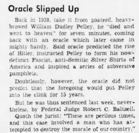 pelleyac Old Print Article: William Dudley Pelley, An American Hitler (1938/42)